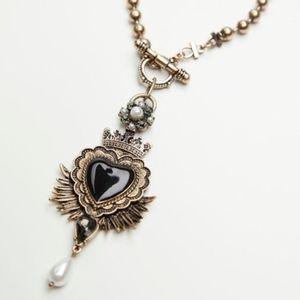 Free People Black heart clasp necklace